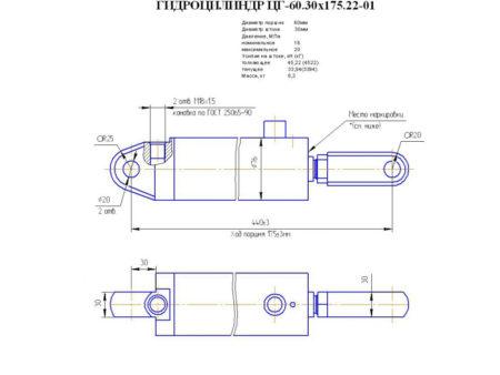 Купить Гидроцилиндр 60.30*175(БО подъём) и другие запчасти для спецтехники в ООО «Дортехника».