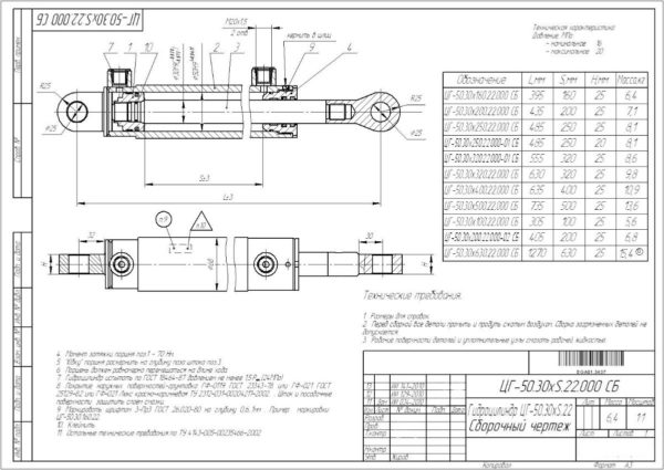 Купить Гидроцилиндр 50.30*500 (Выдвижение уширителя СГН) и другие запчасти для спецтехники в ООО «Дортехника».